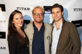 (l to r) Laura Frye, Artistic Director Lenny Banovez, Sean Hudock celebrate 'Midsummer' Opening.