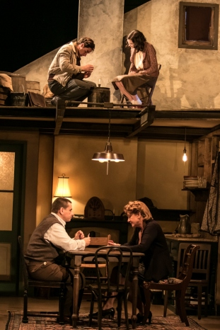 Bottom (l to r) Tony Cochrane, Carol Halstead; Top (l to r) Sean Hudock, Emme Nadeau in THE DIARK OF ANNE FRANK at The Shakespeare Theatre of NJ. Photo by Jerry Dalia