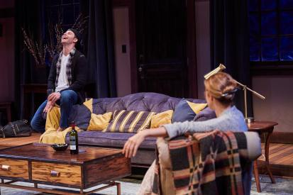 Sean Hudock (Ethan) & Monette Magrath (Olivia) & in Sex with Strangers by Laura Eason. Photo by Roger Mastroianni, Cleveland Play House